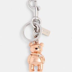 NWT Coach Rose Gold 3D Bear Keychain